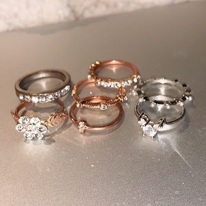 Seven rings. Size 6.